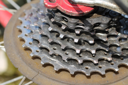 close photo of a gear unit of mountain bike