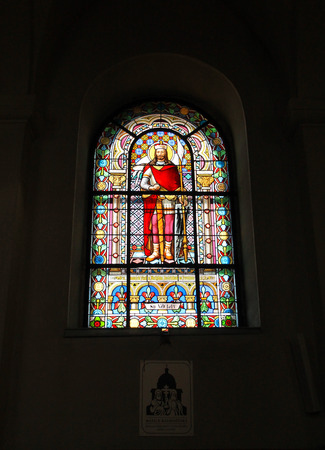 beautiful old vitrage window with picture of saint Vaclav in the church of Saint Cyril and Metodej on Radhost hill, Beskydy mountains, Czech Republic