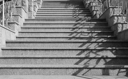 black and white photo of old stairs