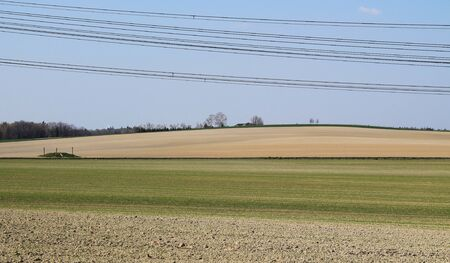 rural landscape with dry fields, global warming problem, Czech Republic