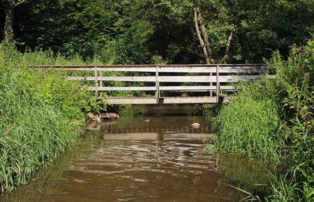 wooden footbridge across the brook