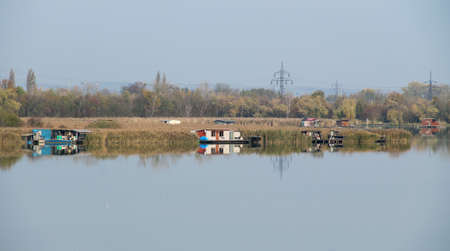 bizarre post-apo looking cottages on Hermanicky pond in Ostrava, Czech Republic Redakční