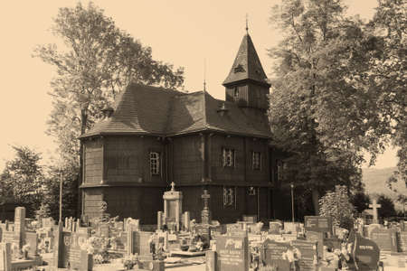 old wooden church and cemetery in Bystrice, Czech Republic