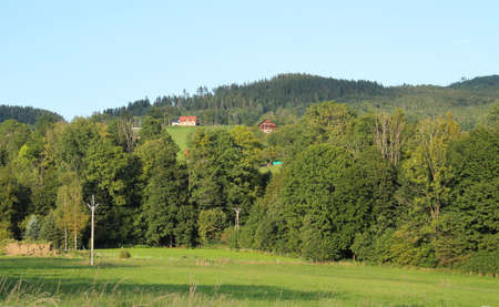 landscape of Beskydy mountains with woods, meadows and some houses and cottages in summer in Vendryne, Czech Republic