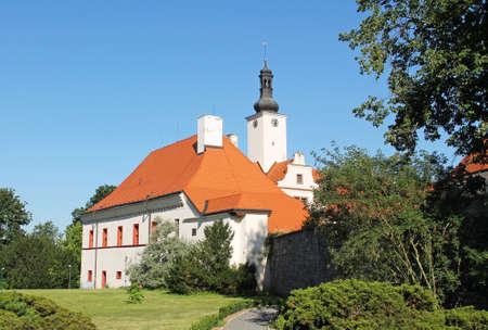 beautiful white chateau of Komorni Hradek in Chocerady, Czech Republic