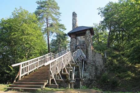 ruins of old medieval castle of Zlenice with wooden bridge, Czech Republic Redakční