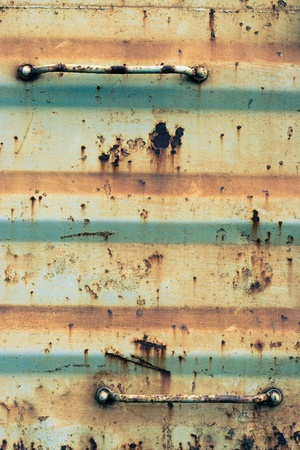 corrugated iron: A rusty corrugated iron metal