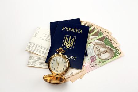 foreign nation: Tickets, passport Ukraine Clock on background Bell