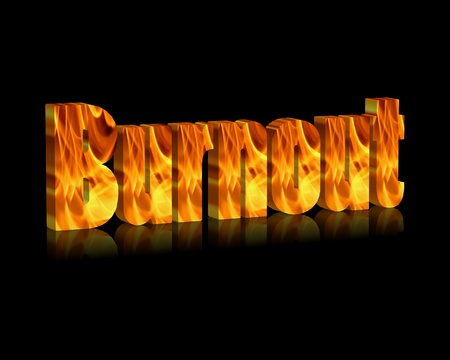 doctor burnout: Burnout 3d word