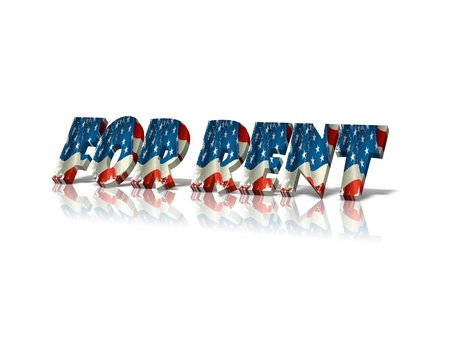 rent: for rent 3d word Stock Photo