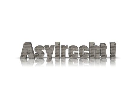 asylum: asylum rights in German 3d word