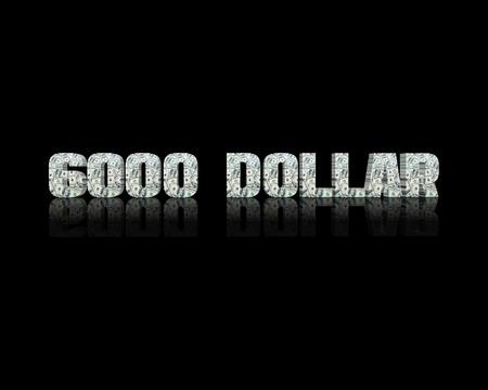 6000 dollar 3d word Stock Photo
