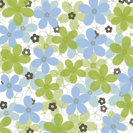 China blue and grass green daisies on white background photo