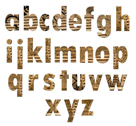 Stamped grungy torn cardboard letters Stock Photo - 1525606