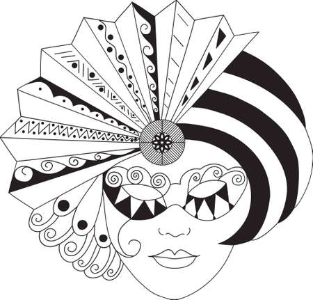 black and white vector venetian styled Mask