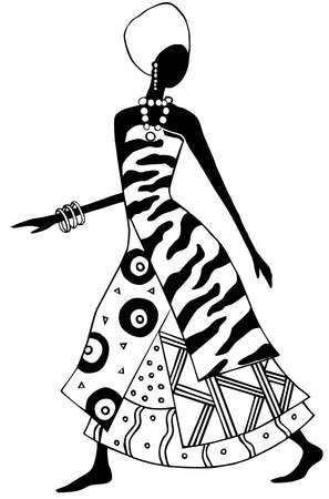 ilustraciones africanas: en blanco y negro mujer africana vector  Vectores