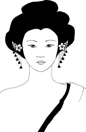 japanese characters: oriental woman vector