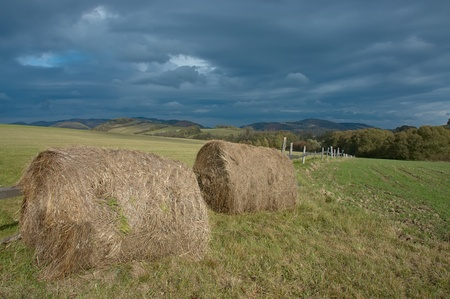 Autumnal landscape silage in meadow photo