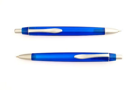Two blue pens with white background