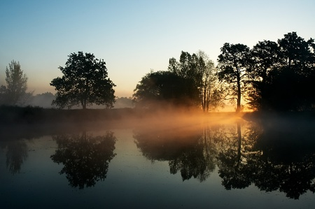 Misty morning sunrise at the pond
