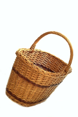 wicker basket on a white background Stock Photo - 14665526