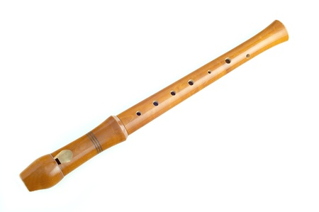 grabadora: flauta de madera sobre fondo blanco Foto de archivo