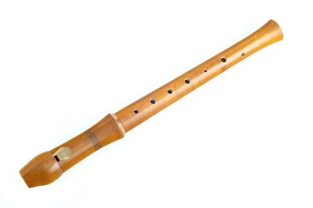 dwarsfluit: houten fluit op een witte achtergrond Stockfoto