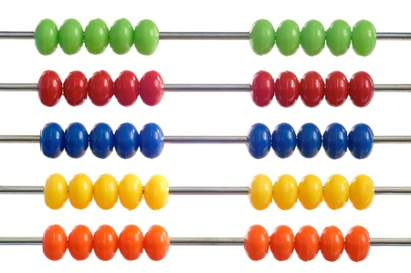 ciphering: abacus of many colorful beads on white background Stock Photo
