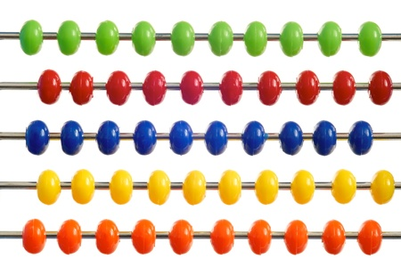 abacus of many colorful beads on white background Stock Photo - 18362407