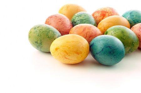Easter eggs on a white background photo