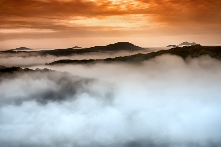 morning awakening landscape with hills and mist Stok Fotoğraf