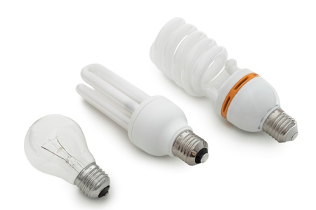 Three bulbs lying on a white background Stock Photo - 19665522