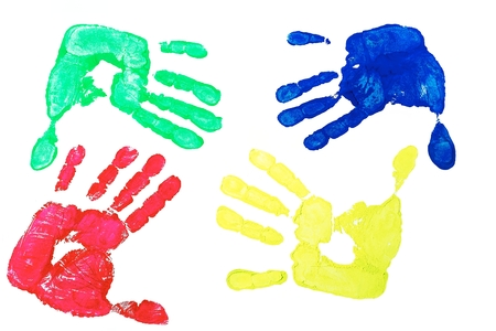 Detail imprint blue, red, green and yellow hand on a white background photo