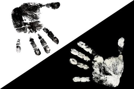 Detail of black fingerprint on white and a white fingerprint on black   photo