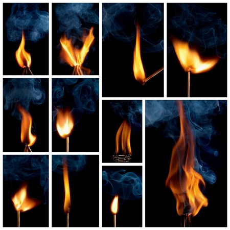 ignited: Collage burning matchstick on black background