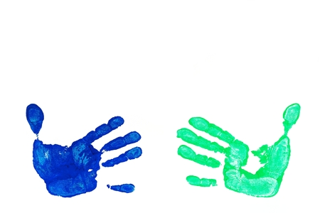 green hand: Detail imprint blue and green hand on a white background