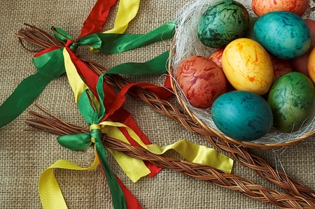 Czech Easter rods with painted eggs photo