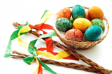 Czech rod with Easter eggs on white background photo
