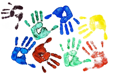 handprints: Detail different colored hand-prints on white background
