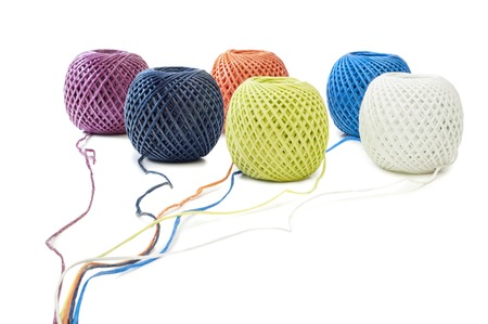 Six ball of twine on a white background photo