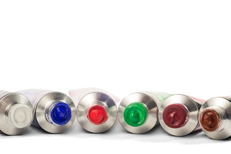 tempera: Various colored tubes tempera on white background