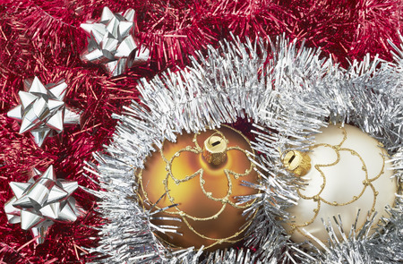 View of  Christmas ornaments on a Christmas tree photo