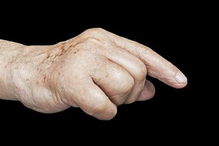 recluse: Senior hands on a black