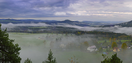 czech switzerland: Morning panoramic views of the landscape of Czech Switzerland