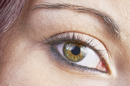 detailed view: Detailed view of the eye of a young girl