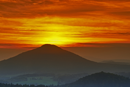 czech switzerland: View of sunset in the Czech Switzerland