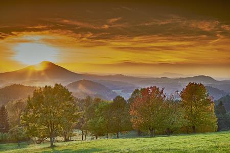 czech switzerland: Sunset in the romantic landscape of Czech Switzerland