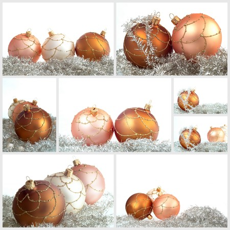 christmas decorations with white background: Collage Christmas decorations with white background Stock Photo