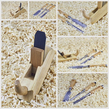 pointed arm: Collage chisels and one spokeshave lying in wooden shavings Stock Photo