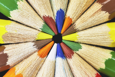 differently: Macro differently colored end of colored crayons